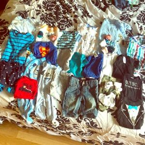 0-3 month baby onesies, jeans, and socks!